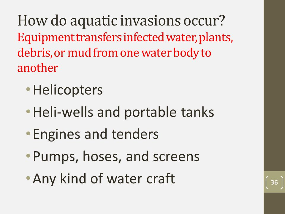 Aquatic invader mitigations Inspect, clean, and sanitize all equipment that contacts water at arrival and demob – must be clean and dry!.