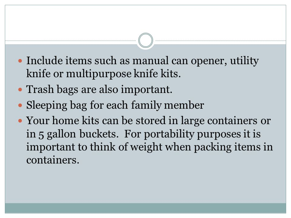 Car and work kit should contain a smaller portion of the items listed for your home kit.