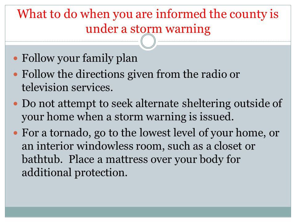 Following a Disaster Make the calls necessary to assure your family's safety.