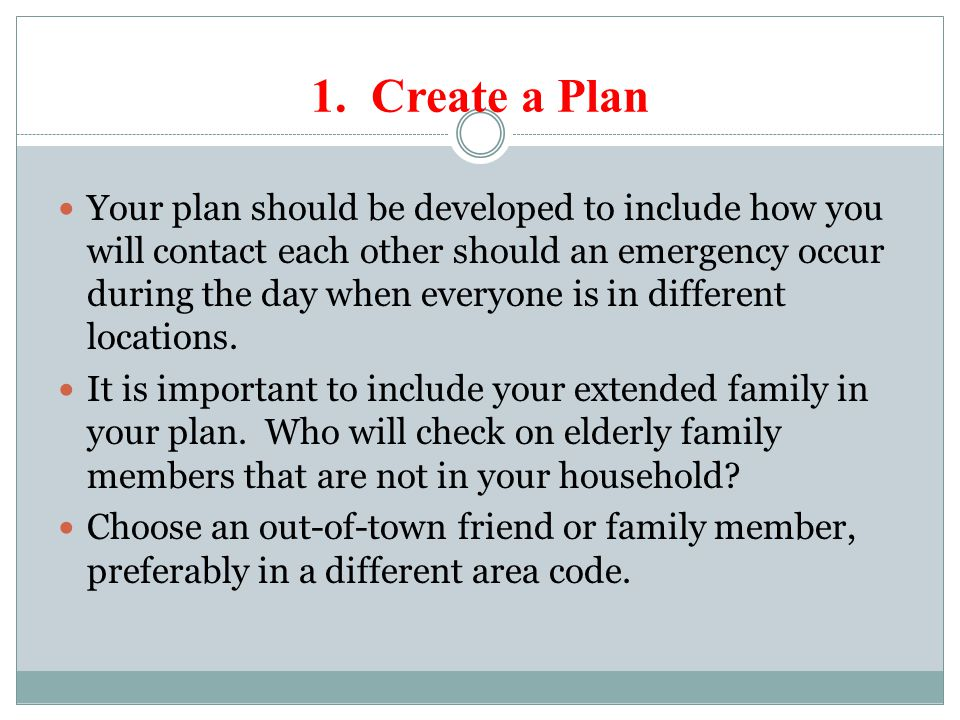 To begin: Complete the Insert Card: Family Plan Make copies of your family plan.