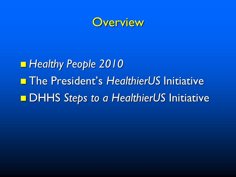 Build a Healthier Nation Focus on Prevention National Objectives Relationship