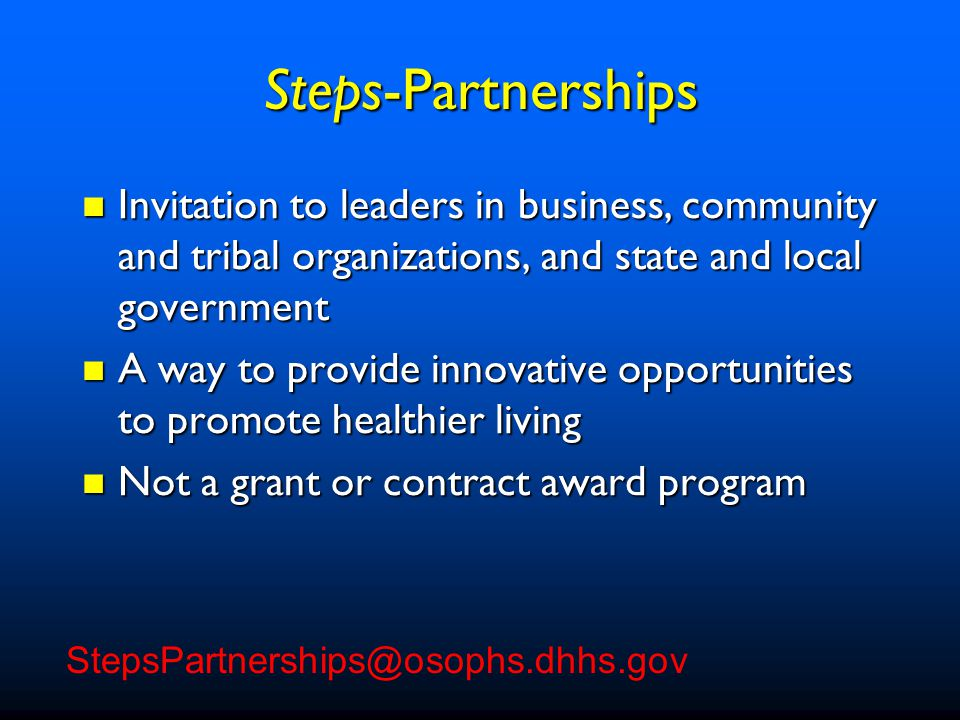34 Steps Portfolio: the why, how, and what of disease prevention Steps Portfolio: the why, how, and what of disease prevention – Promise of Prevention – Prevention Strategies that Work – Prevention Programs in Action HHS Report: Prevention Makes Common Cents HHS Report: Prevention Makes Common Cents – The impact of poor health on businesses – Costs associated with preventable disease www.healthierus.gov/steps Steps - Resources