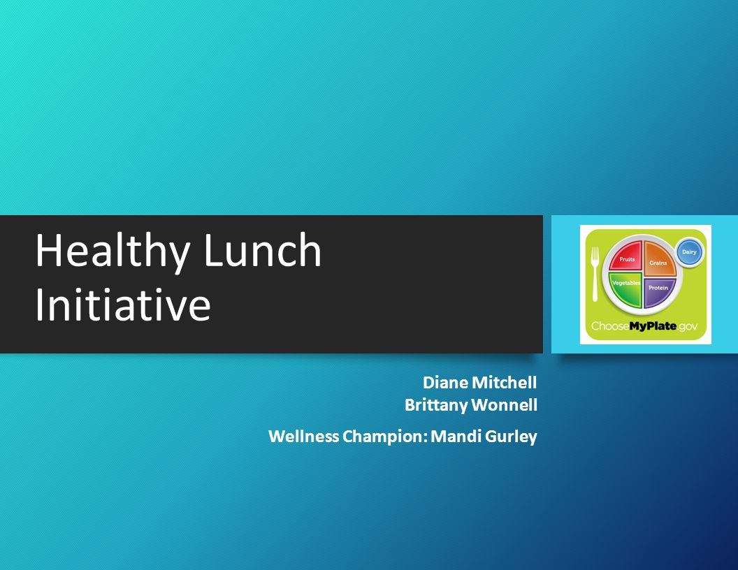 Introduction Situation -Interest in preparing and eating healthier foods -Healthy Lunch Initiative developed