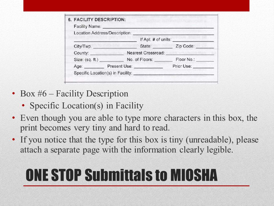 Future - ONE STOP In the process of development for accepting online notifications submitted through ONE STOP This will be another way to submit notifications to MIOSHA without having to print, fax, or e-mail Once the notification is submitted on ONE STOP, it will be directed to the correct agency (MIOSHA and/or DEQ) based on notification type, footage, and materials