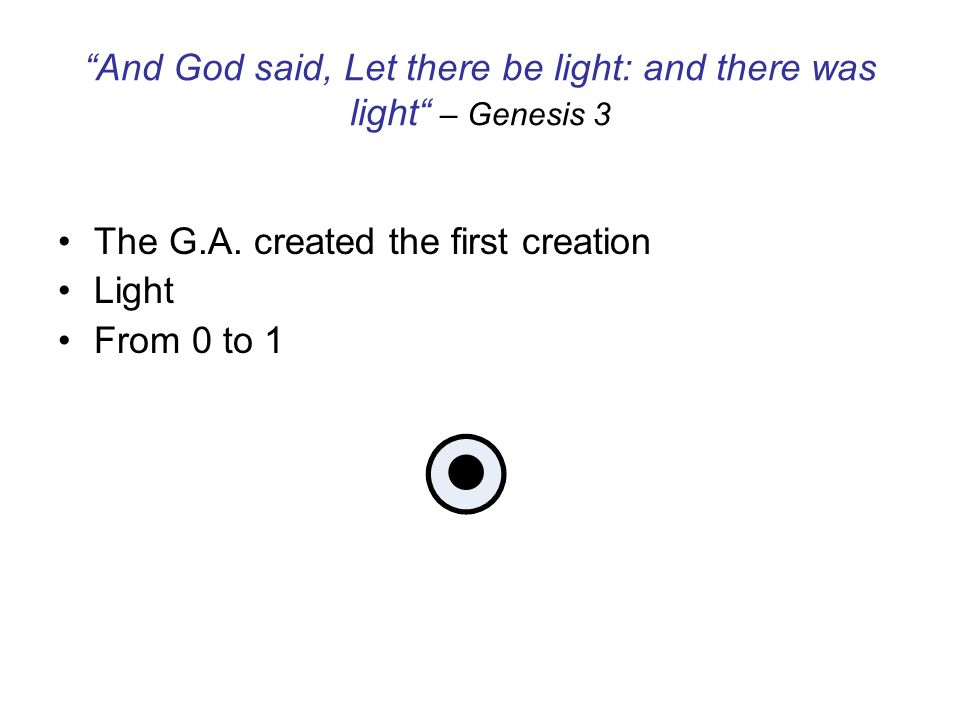 And God saw the light, that it was good: and God divided the light from the darkness – Genesis 4 From 0 to 1 to 2…