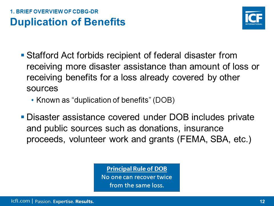 13 icfi.com | Duplication of Benefits (continued) 1.