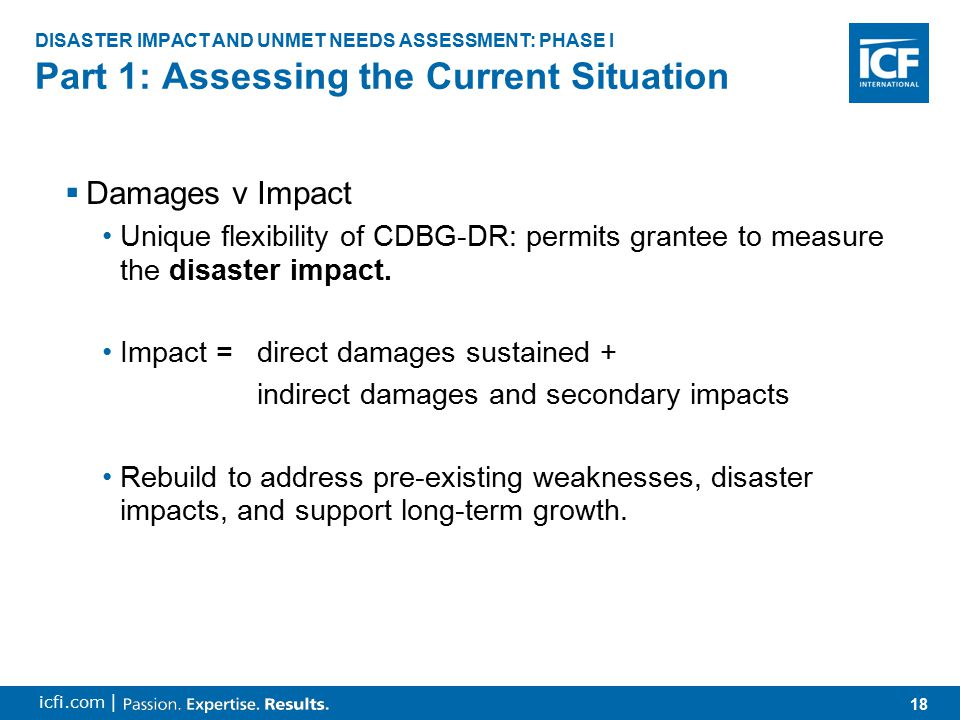 19 icfi.com | 1.Collecting and Updating Data Pre-Disaster Baseline Data –ConPlan –Comprehensive Economic Development Strategy –Metropolitan Transportation Plan Post-Disaster Market Data –Formal Sources (disaster assessments): FEMA, SBA, Army Corp, Red Cross, Salvation Army, insurance companies –Formal Sources (economic indicators): Dept of Commerce –Informal Sources (small-scale demographic indicators): Religious organizations, schools Part 1: Assessing the Current Situation DISASTER IMPACT AND UNMET NEEDS ASSESSMENT: PHASE I