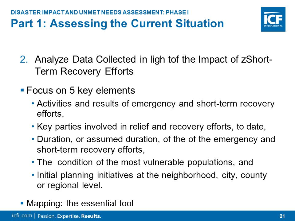 22 icfi.com |  What are the ancillary impacts of the needs that have been met through response and initial recovery efforts.