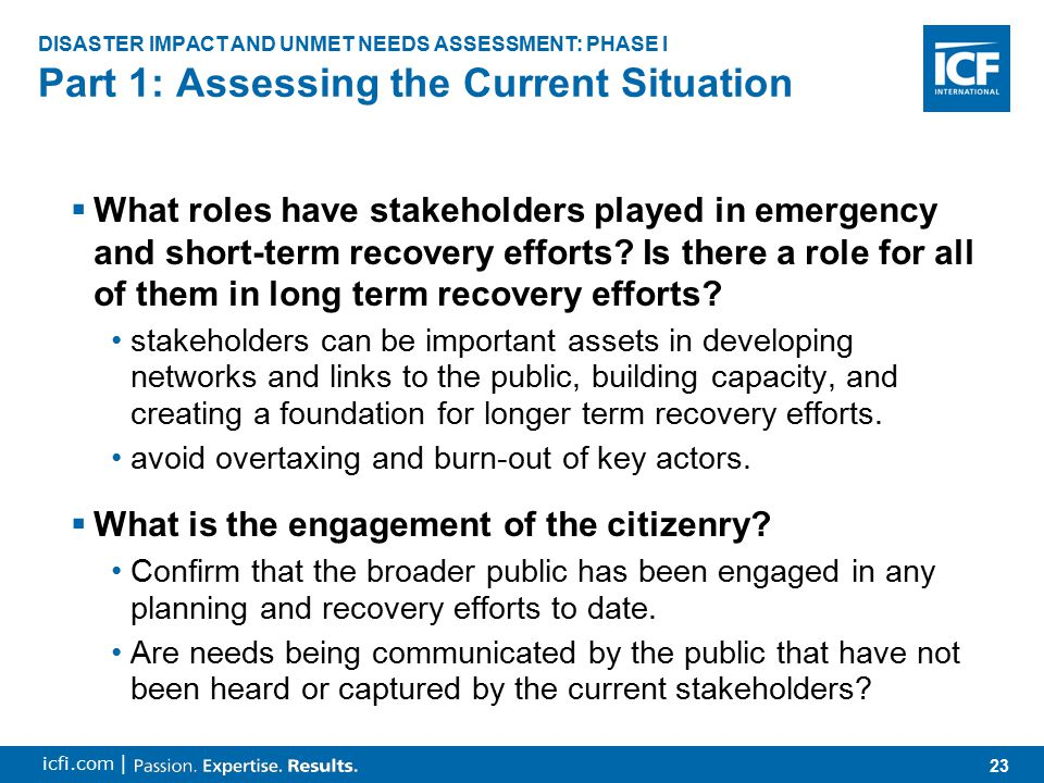 24 icfi.com |  What roles have stakeholders played in emergency and short-term recovery efforts.