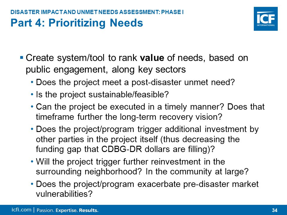 35 icfi.com | Part 4: Prioritizing Needs DISASTER IMPACT AND UNMET NEEDS ASSESSMENT: PHASE I