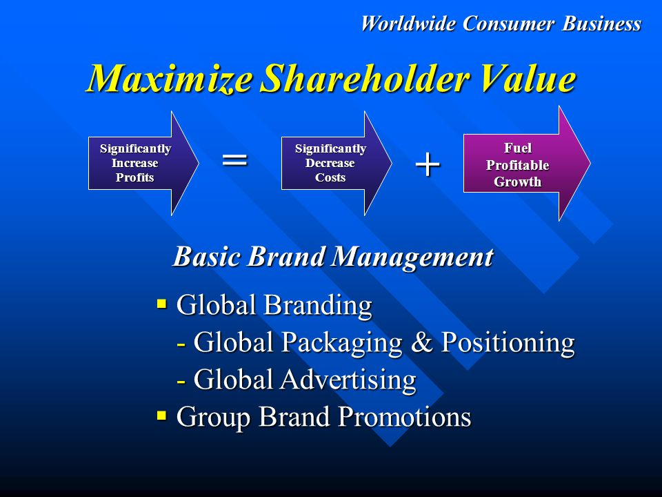 Worldwide Consumer Business Maximize Shareholder Value SignificantlyIncreaseProfits = + SignificantlyDecreaseCosts FuelProfitableGrowth Basic Brand Management  Fully Capitalize on All Trade Channels - $250+ Million Incremental Sales Potential