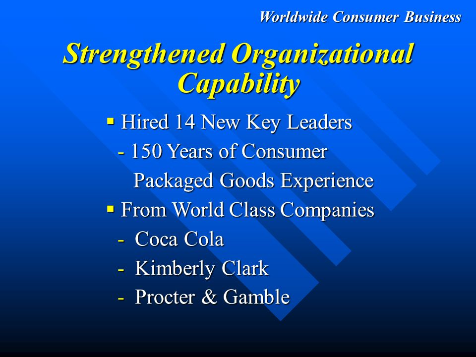 Worldwide Consumer Business New Scott  Establish Global Brands  Grow These Brands Profitably  Grow Organizational Capability