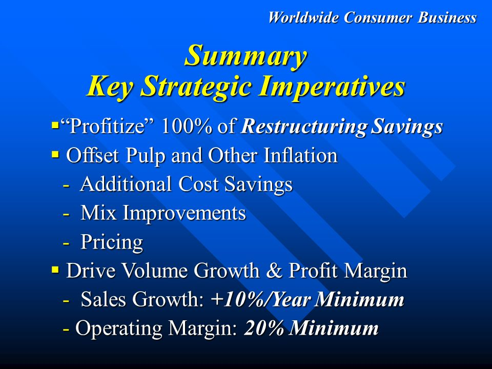 PROFIT PROFIT PROFIT -Restructuring & Cost Reduction -Basic Brand Management -Incremental Sales from Initiatives