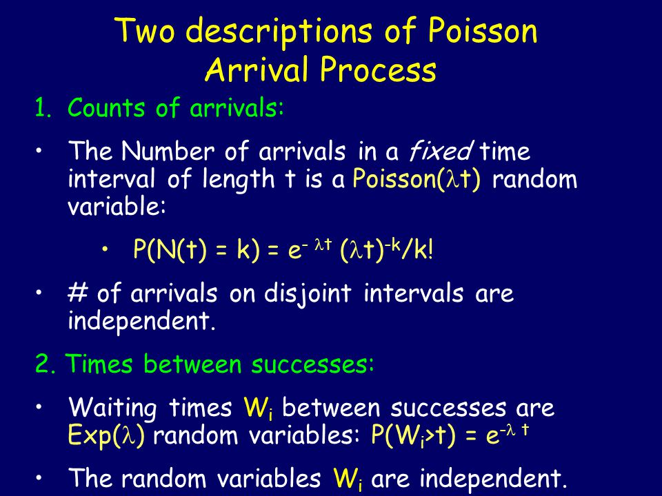 Two descriptions of Poisson Arrival Process 1.Counts of arrivals: The Number of arrivals in a fixed time interval of length t is a Poisson( t) random variable: P(N(t) = k) = e - t ( t) -k /k.