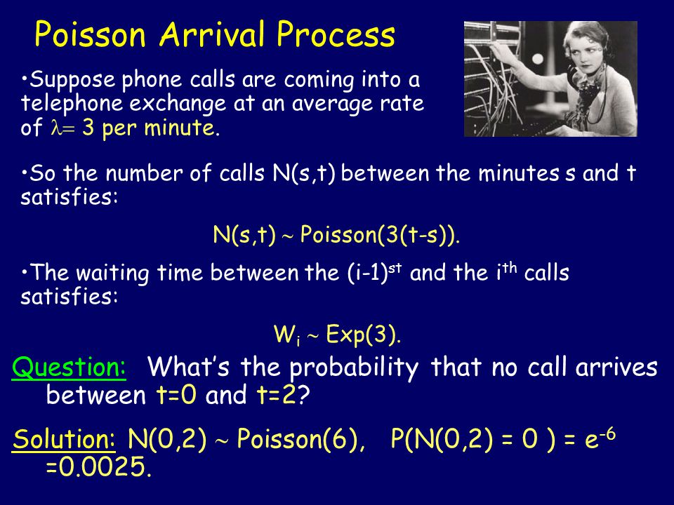 Poisson Arrival Process So the number of calls N(s,t) between the minutes s and t satisfies: N(s,t)  Poisson(3(t-s)).
