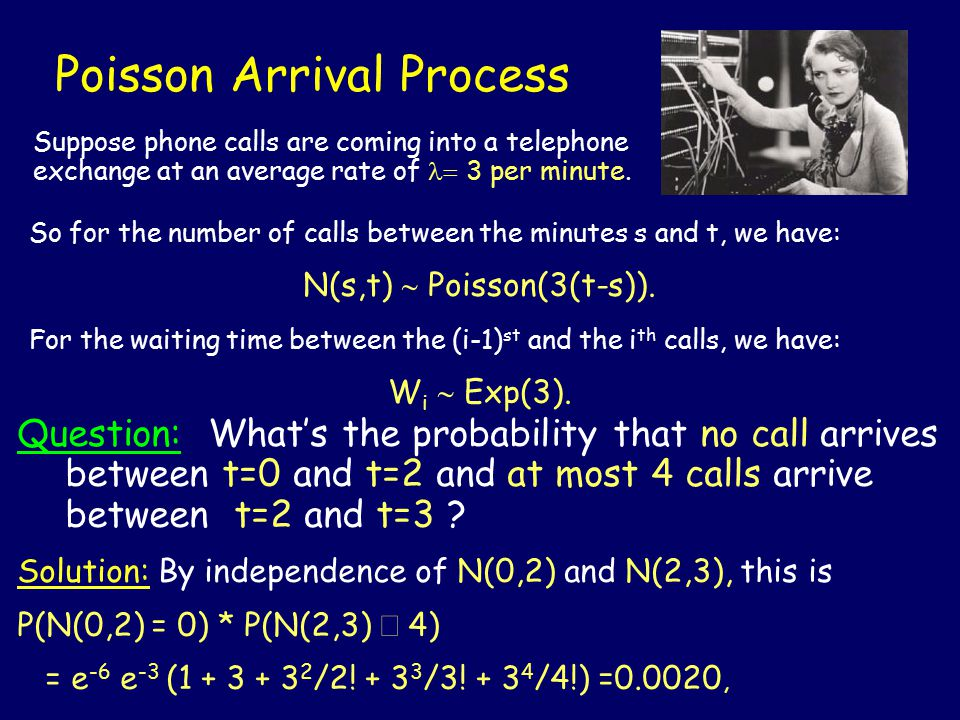 Poisson Arrival Process Question: What's the probability that no call arrives between t=0 and t=2 and at most 4 calls arrive between t=2 and t=3 .