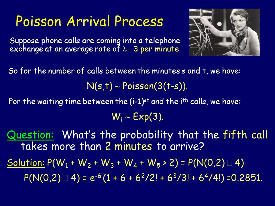 Poisson Arrival Process Question: What's the probability that the fifth call takes more than 2 minutes to arrive.