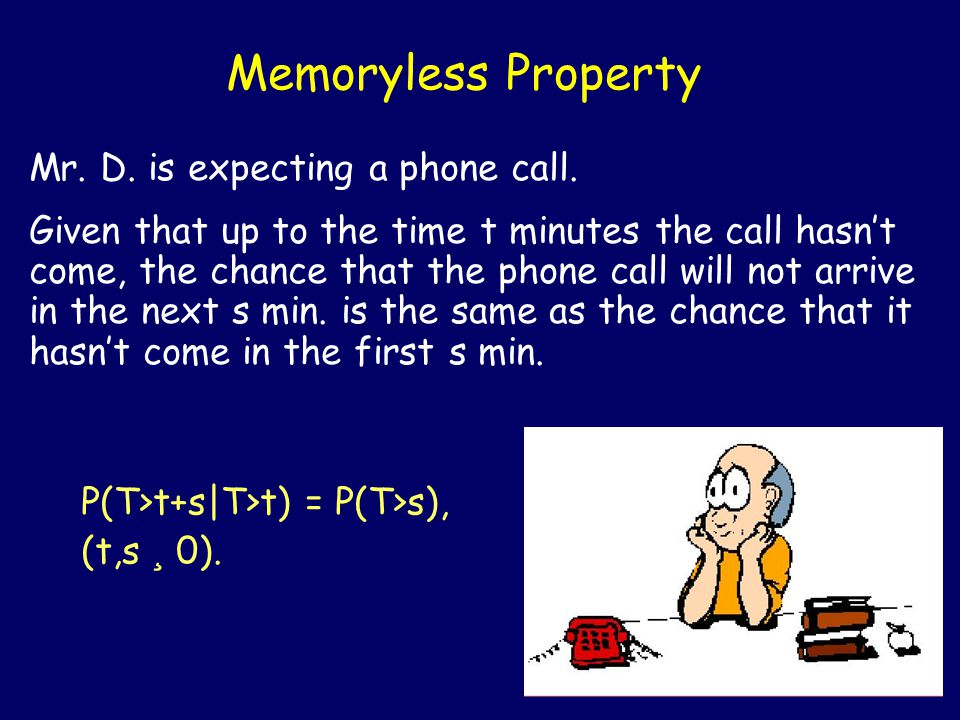 Memoryless Property Mr.D. is expecting a phone call.