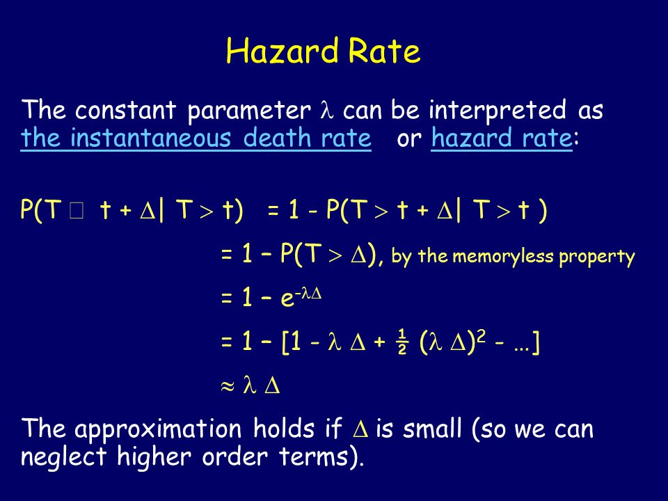Hazard Rate The constant parameter  can be interpreted as the instantaneous death rate or hazard rate: P(T  t +  | T  t) = 1 - P(T  t +  | T  t ) = 1 – P(T   ), by the memoryless property = 1 – e -  = 1 – [1 -  + ½ (  ) 2 - …]   The approximation holds if  is small (so we can neglect higher order terms).
