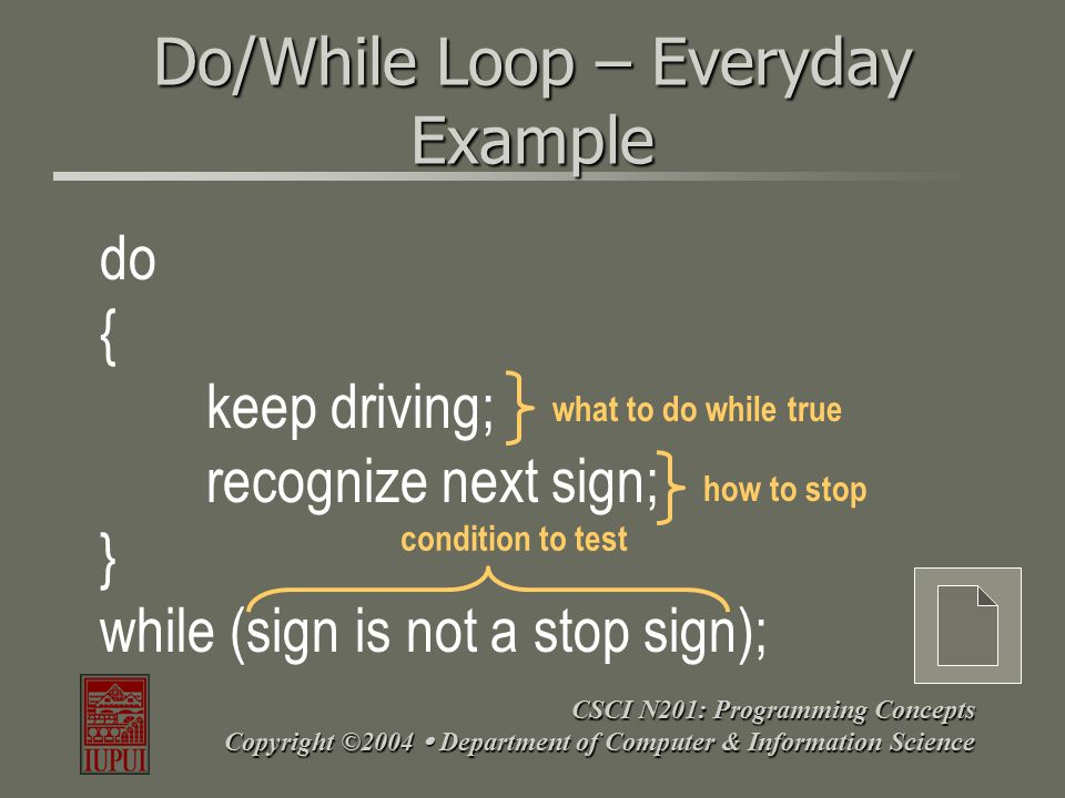 CSCI N201: Programming Concepts Copyright ©2004  Department of Computer & Information Science The for Loop AKA – The Counting Loop OR Counter-Controlled LoopAKA – The Counting Loop OR Counter-Controlled Loop Allows repeatable code until in an iterative loop for a finite amount of times.Allows repeatable code until in an iterative loop for a finite amount of times.