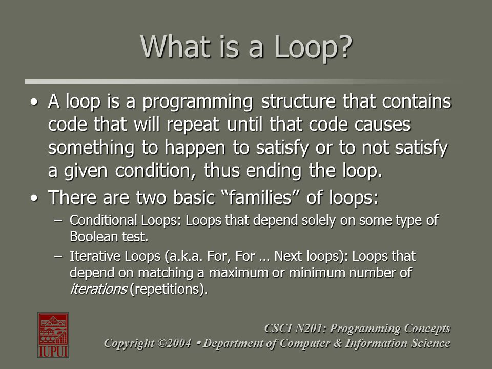 CSCI N201: Programming Concepts Copyright ©2004  Department of Computer & Information Science Parts of a Loop All loops share some basic parts.
