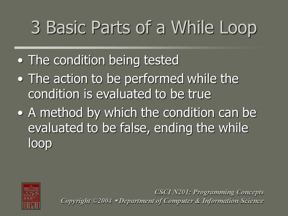 CSCI N201: Programming Concepts Copyright ©2004  Department of Computer & Information Science While Loop – Everyday Example while (sign is not a stop sign) { keep driving; recognize next sign; } what to do while true condition to test what to do while true how to stop
