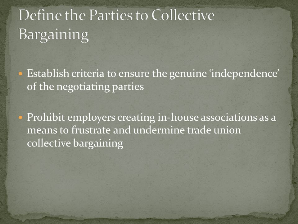 Prohibit prevent employers 'interference' or the use of 'inducements' or other measures, policies, acts calculated to induce workers not to join' or to give up their trade union membership, or to not exercise other trade union rights such as the right to collective bargaining.