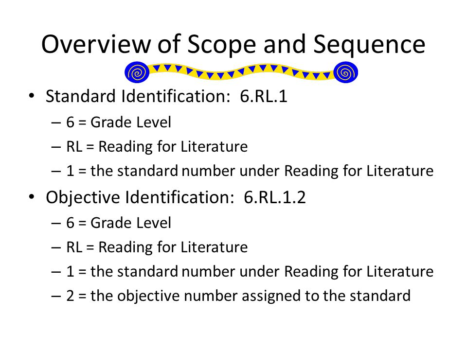 Overview of Scope and Sequence Standard Identification: 6.RL.1 – 6 = Grade Level – RL = Reading for Literature – 1 = the standard number under Reading for Literature Objective Identification: 6.RL.1.2 – 6 = Grade Level – RL = Reading for Literature – 1 = the standard number under Reading for Literature – 2 = the objective number assigned to the standard