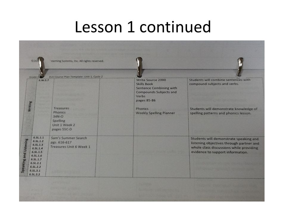 Lesson 1 continued