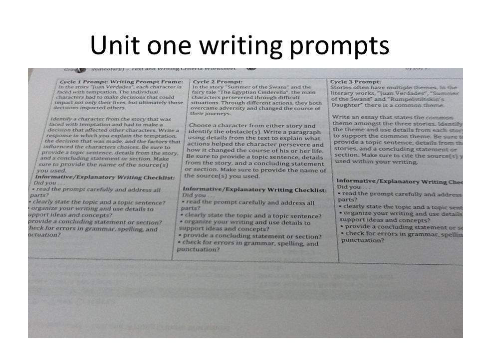 Unit one writing prompts