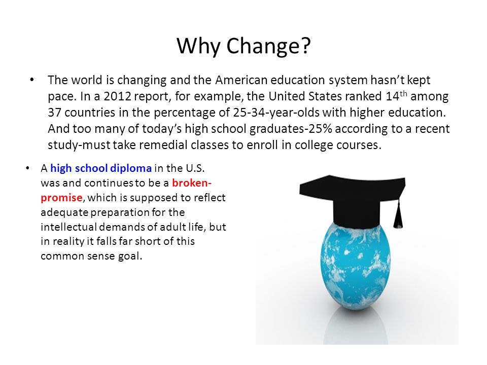 Why Change.A high school diploma in the U.S.