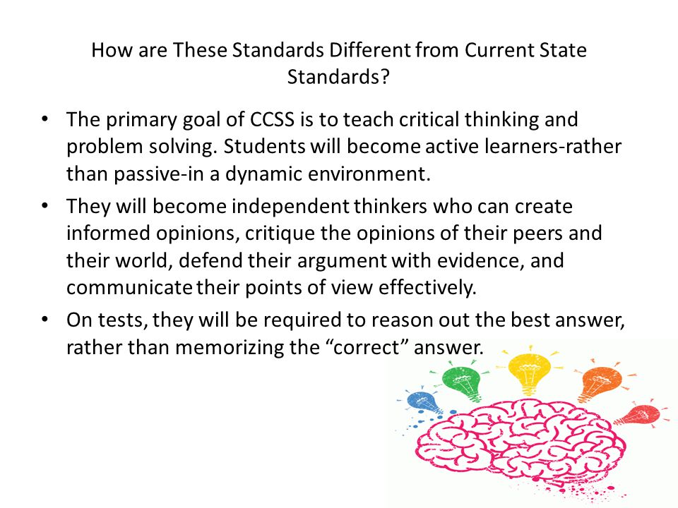 How are These Standards Different from Current State Standards.