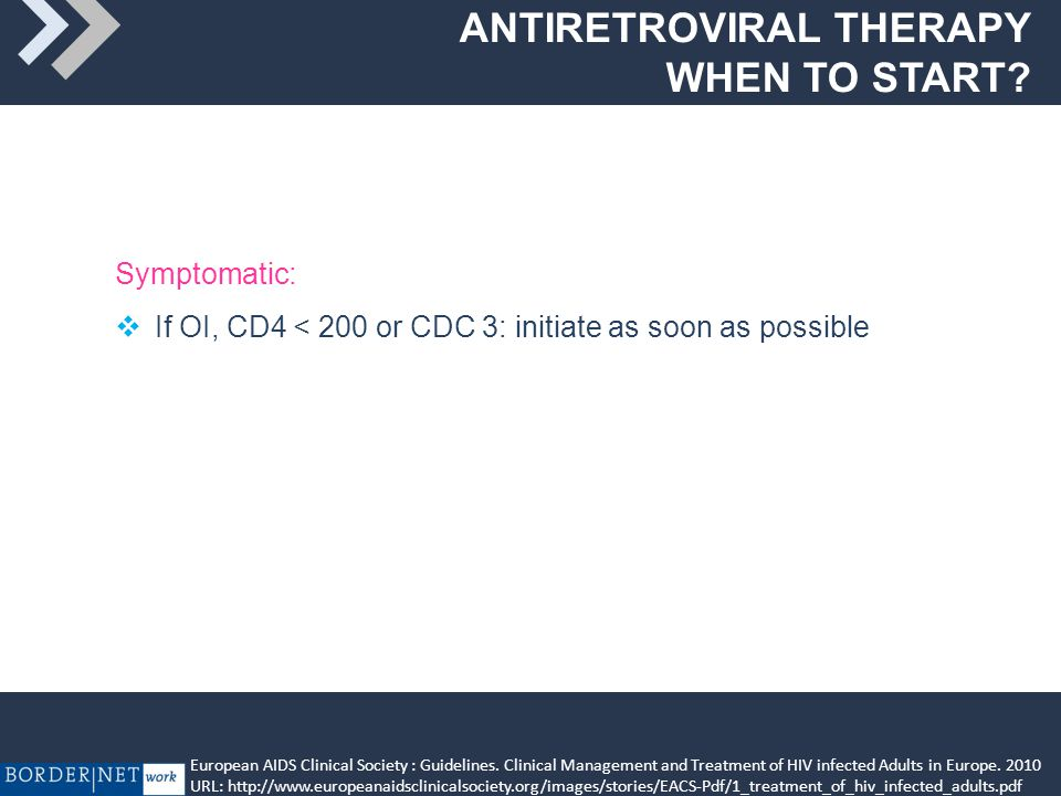 ANTIRETROVIRAL THERAPY WHEN TO START .