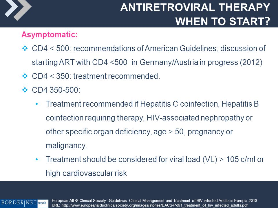 ANTIRETROVIRAL THERAPY WHEN TO START.