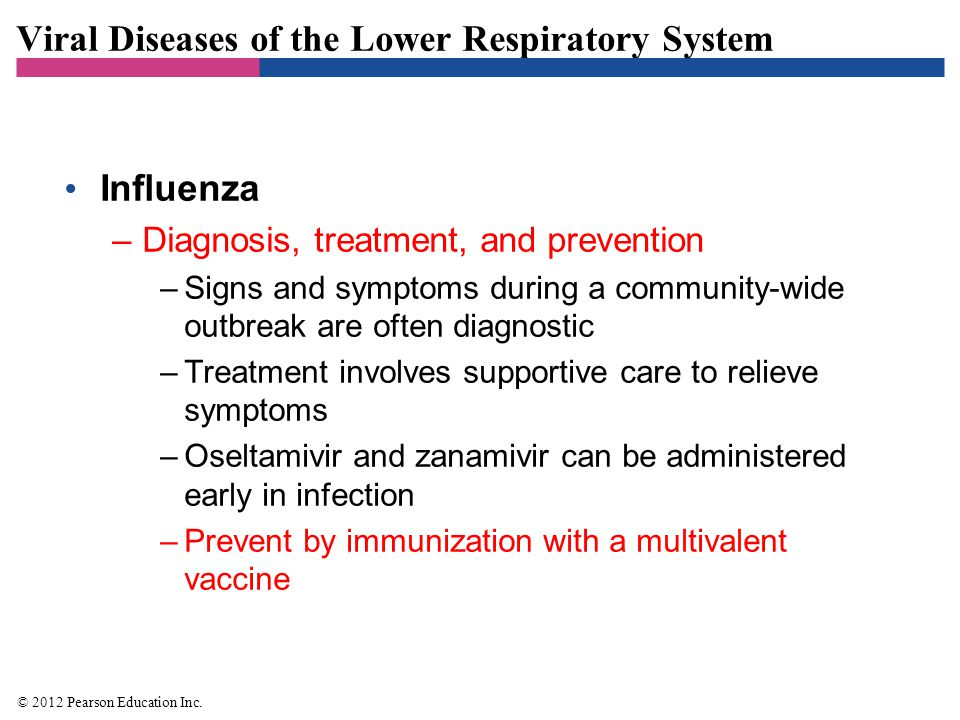 Viral Diseases of the Lower Respiratory System Severe Acute Respiratory Syndrome (SARS) –Signs and symptoms –High fever, shortness of breath, and difficulty breathing –Later develop dry cough and pneumonia –Pathogen and virulence factors –Caused by a coronavirus called SARS virus –Pathogenesis and epidemiology –SARS virus spreads via respiratory droplets –Diagnosis, treatment, and prevention –Diagnosis based on signs and symptoms of SARS –Treatment is supportive © 2012 Pearson Education Inc.