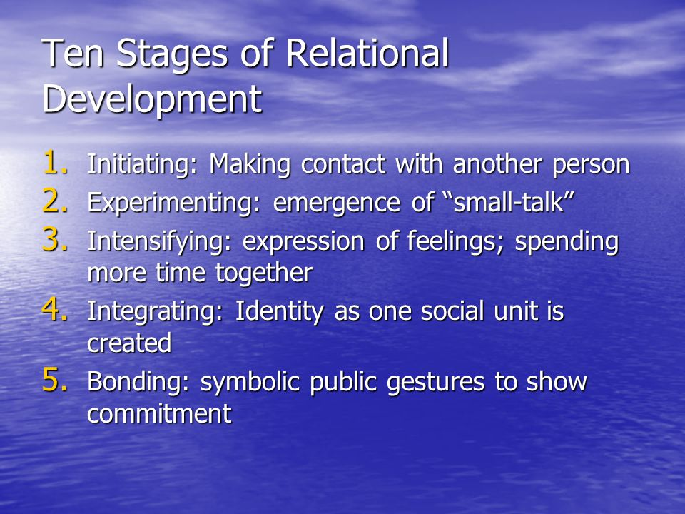 Ten Stages of Relational Development, cont.6. Differentiating: re-establish individual identity 7.