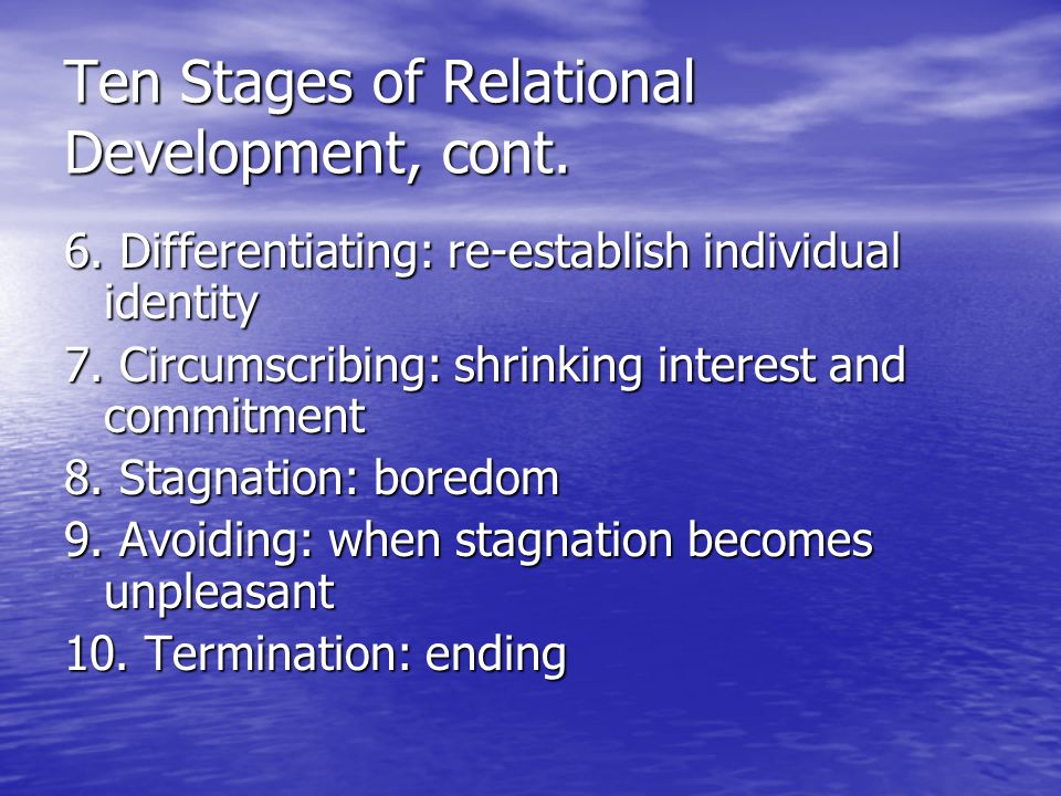 Characteristics of Relational Development & Maintenance Relationships are constantly changing Relationships are constantly changing Movement is always to a new place Movement is always to a new place