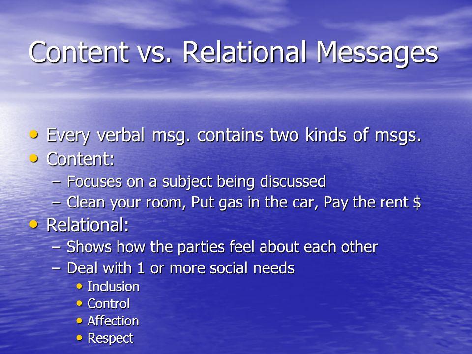 Relational Messages cont'd.