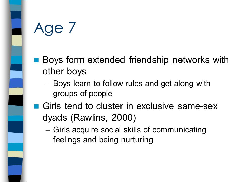 Age 7 Boys form extended friendship networks with other boys –Boys learn to follow rules and get along with groups of people Girls tend to cluster in exclusive same-sex dyads (Rawlins, 2000) –Girls acquire social skills of communicating feelings and being nurturing