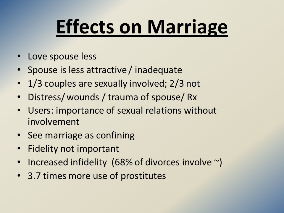 Cybersex and Marriage Online Infidelity (about 80% for both) Distress/ wounds of wives / husbands Seen by spouse as being unfaithful Leads to face to face (about 80% for both) Distaste for spouse 48% lose their spouse 58% considerable financial loss 1/3 lose their jobs
