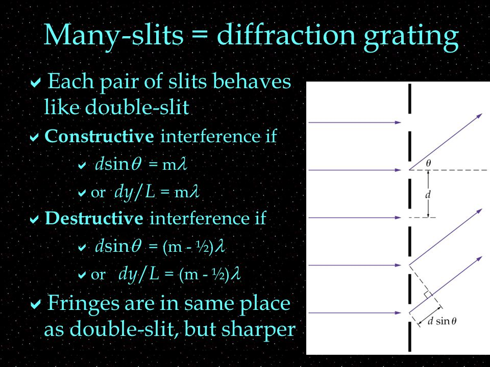 Many-slits = diffraction grating  How far apart are the slits.