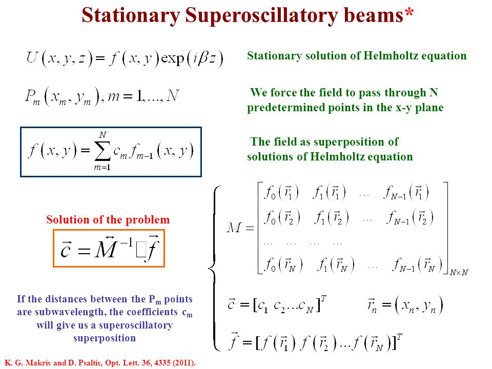 Analytical form of a superoscillatory beam* We choose to write our field as superposition of Bessel beams J n Superoscillatory diffractionless beam Superposition of Bessel beams Specific example Polar coordinates K.