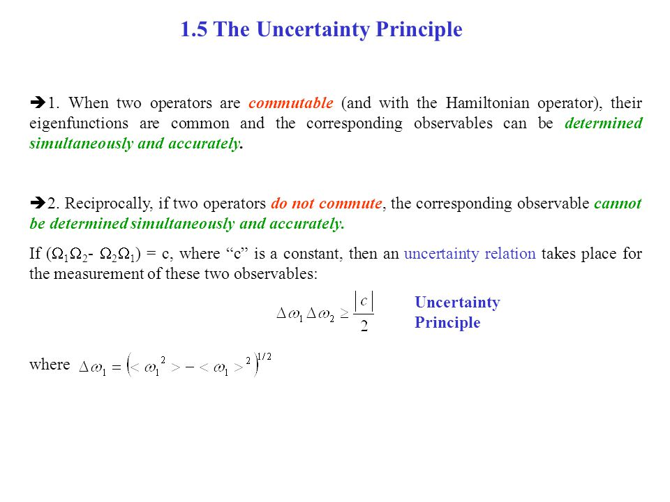 Example 4: the Uncertainty Principle  1.
