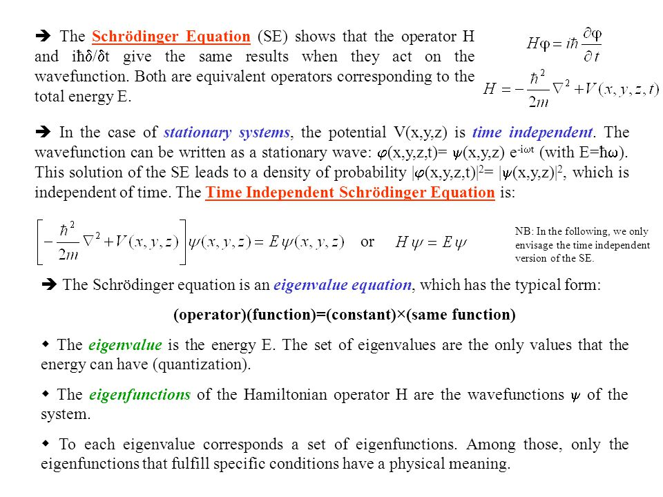 1.3 The Born interpretation of the wavefunction Example of a 1-dimensional system  Physical meaning of the wavefunction: If the wavefunction of a particle has the value  (r) at some point r of the space, the probability of finding the particle in an infinitesimal volume d  =dxdydz at that point is proportional to    (r)  2 d      (r)  2 =  (r)  * (r) is a probability density.