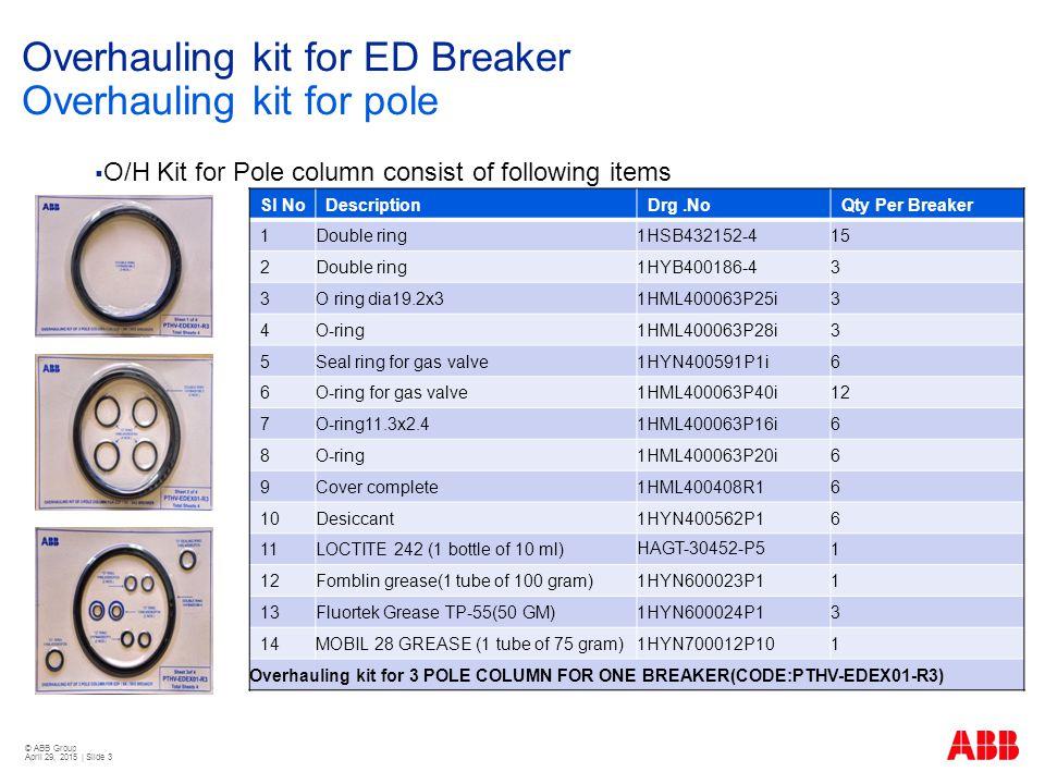 © ABB Group April 29, 2015 | Slide 4 Overhauling kit for ED Breaker Overhauling kit for Drive SI NoDescriptionDrg NoQty Per Breaker 1O RINGSWT-431169-P42 2DAMPER - SHOCK ABSORBER (FOR 3 POLE BREAKER)EXIN-300654-R11 3COUPLING PINHATH-408496-P21 4S.S.
