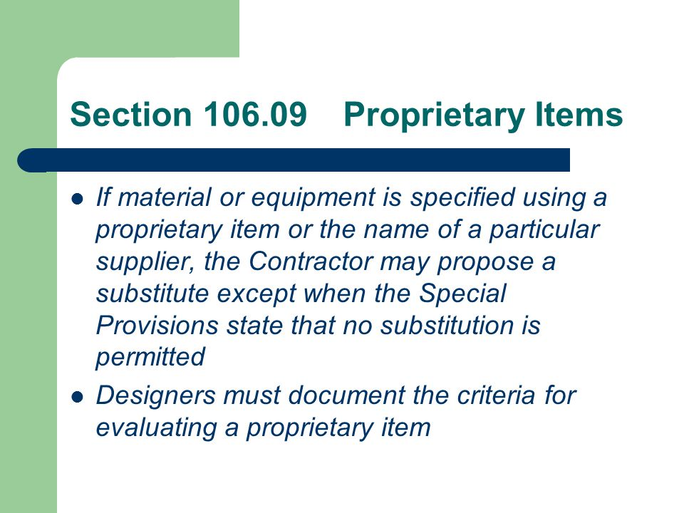 Section 108.01 Subcontracting Requirement for subcontractor prequalification with NJDOT procurement eliminated.