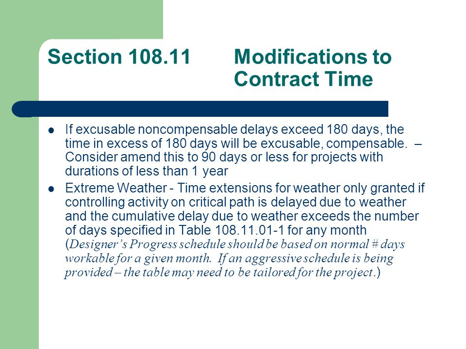 Section 108.14Default Fails to begin construction operations within 40 days of execution of the Contract.