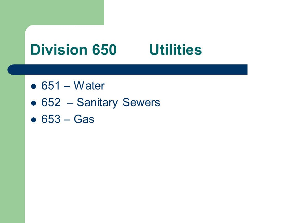 Division 650Utilities Generic version of utility specifications.