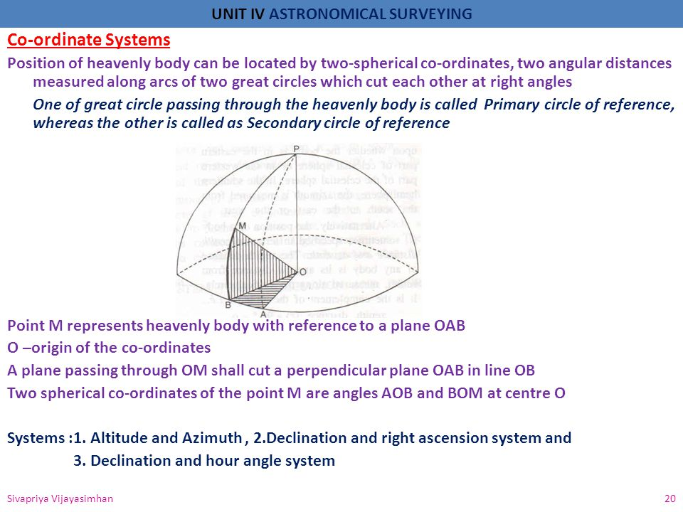 UNIT IV ASTRONOMICAL SURVEYING 1.Altitude and Azimuth System Also called as horizon system which is dependent on the position of the observer Horizon is a plane of reference and the co-ordinates of a heavenly body (azimuth and altitude) - It is the primary and secondary reference great circle in observer's meridian - Horizontal and vertical angles are measured - theodolite -The heavenly body can be in eastern or western part of the celestial sphere Heavenly body in eastern part of celestial sphere.