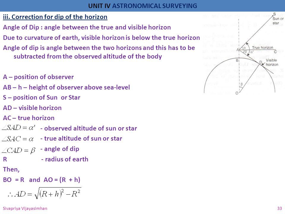 UNIT IV ASTRONOMICAL SURVEYING Sivapriya Vijayasimhan 34 Β= small, then Correction for dip is subtractive